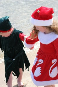 Two children in Christmas outfits - Raleigh Divorce Lawyer